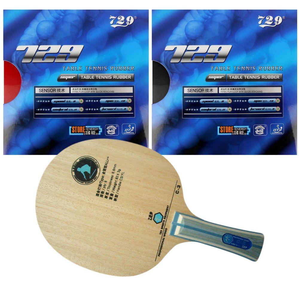 RITC729 C-3 mit 2x SUPER FX-729 GuoYuehua Rubbers für einen schläger indoor sport Lange Shakehand FL