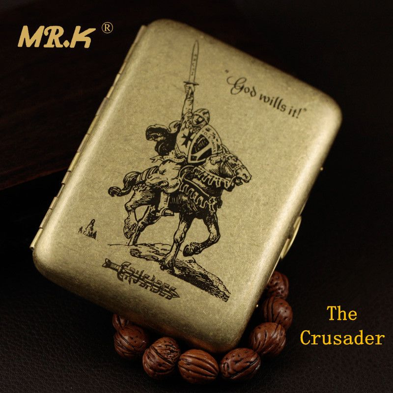 MR.K Vintage Style MRK101 The Crusader Male Brass 20 Cigarettes Boxes Cigarette Case Smoking Accessaries with Gift Box Smoke Box