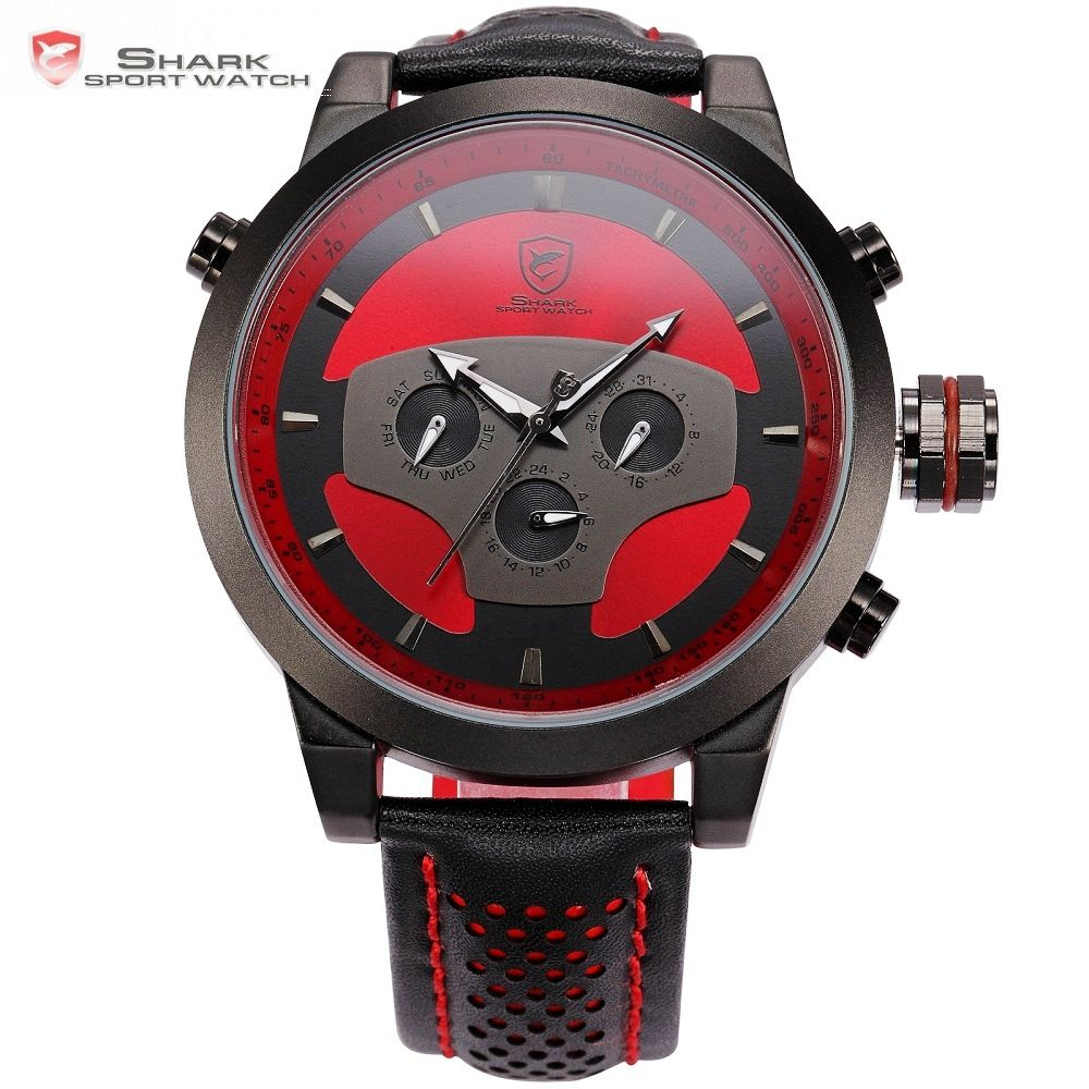 Requiem Shark Sport Watch Red Black Leather Band Quartz-Watch Waterproof Clock Date Men's Wrist Watches relogio masculino /SH207