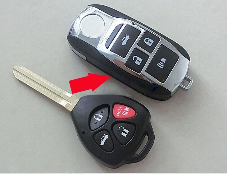 Nouveau Style! Étui à clé à distance pliable à 4 boutons modifié pour Toyota Camry Avalon Corolla RAV4 Venza Yaris couvre-clé Fob