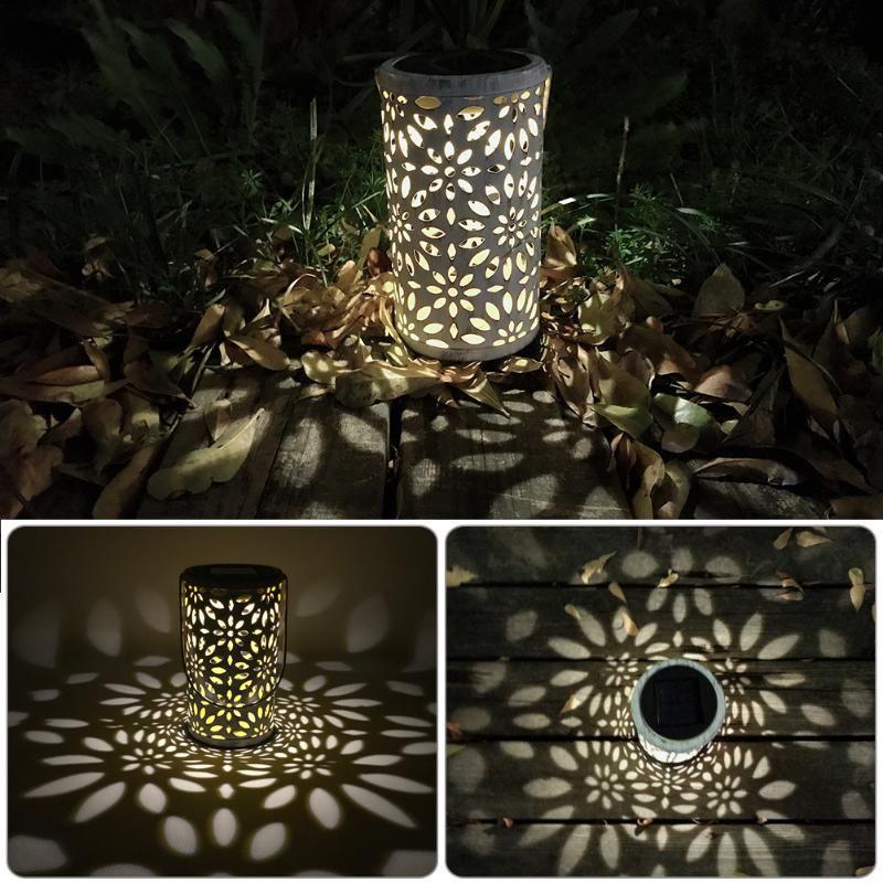 Antique Solar Lantern Atmosphere Light <font><b>Indoor</b></font> Table Light Metal Waterproof Outdoor Lawn Garden landscape Light LED Decor Lamp