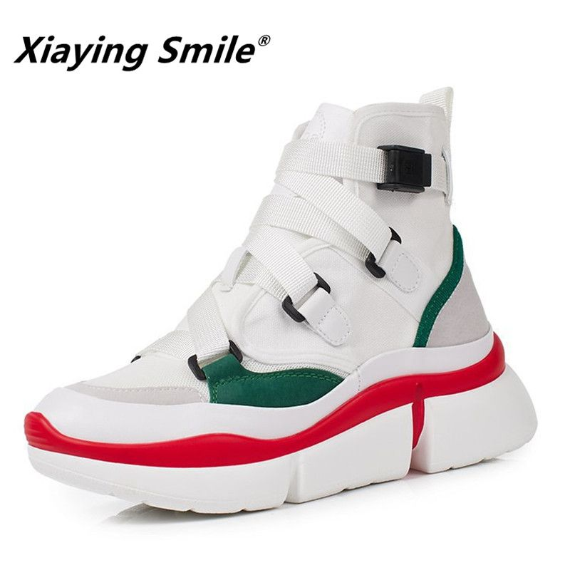 Xiaying Smile Women Spring/Autumn Shoes Mixed Colors Buckle Tennis Ankle Boots Shoes 2018 Most Popular Heel High Fashion Shoes