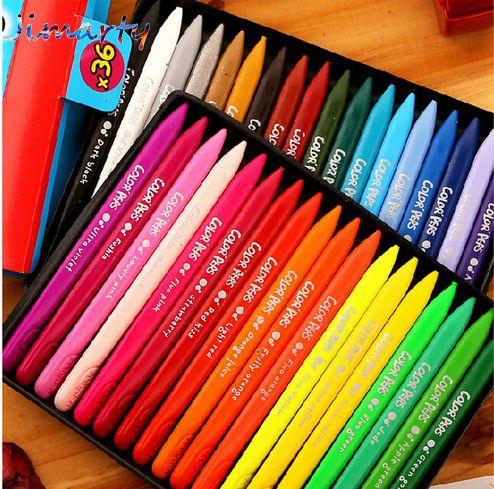 Crayon de cire Non toxique 12 ~ 36 couleurs comestibles enfants dessin fournitures effaçable Crayon art fournitures école kingdergartern approvisionnement AKP008