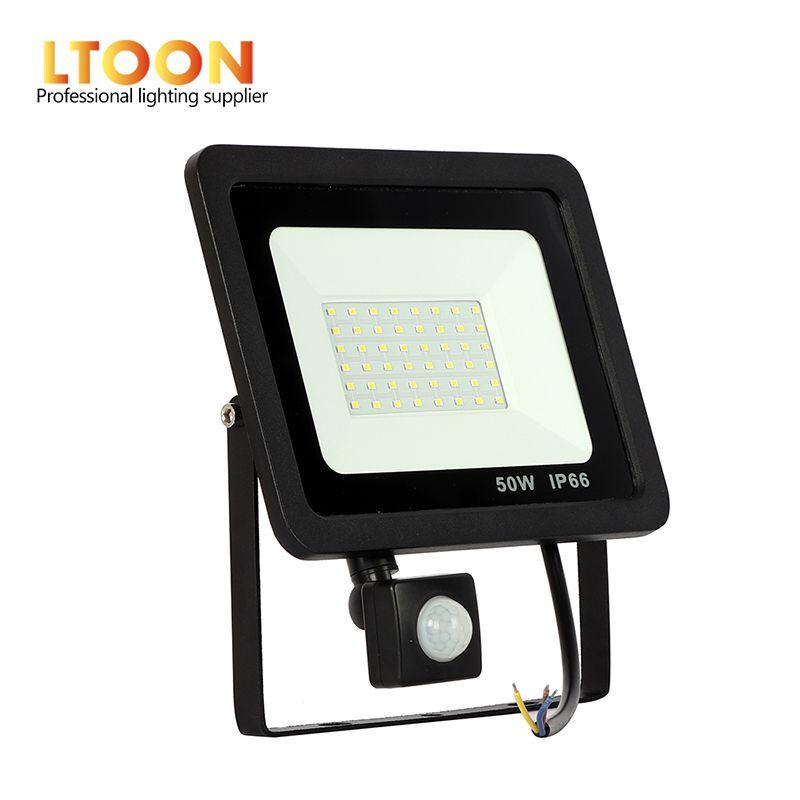 [LTOON] 10 W 20 W 30 W 50 W 100 W Led lumière d'inondation avec capteur PIR réglable SMD 2835 projecteurs éclairage extérieur pour la place de la rue