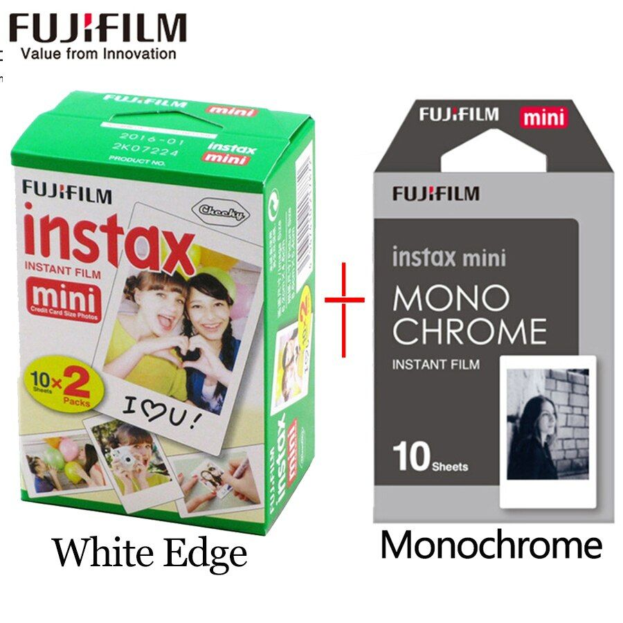 Fujifilm instax mini film 20 sheets white Edge +10 Sheets Black and white Monochrome Film for Instant Camera mini 8 7s 25 50s 9