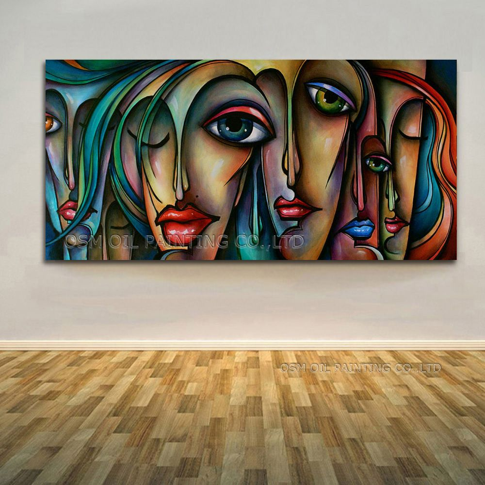 Высокая навыки художник ручная роспись высокое качество виды красивые Цвета абстрактный портрет современные лица картина маслом на холсте