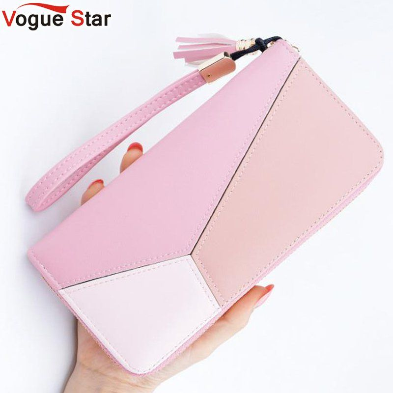 Vogue Star New Fashion Women Wallets PU Leather Zipper Wallet Women's Long Design Purse Clutch Wrist Brand Mobile Bag  LB524