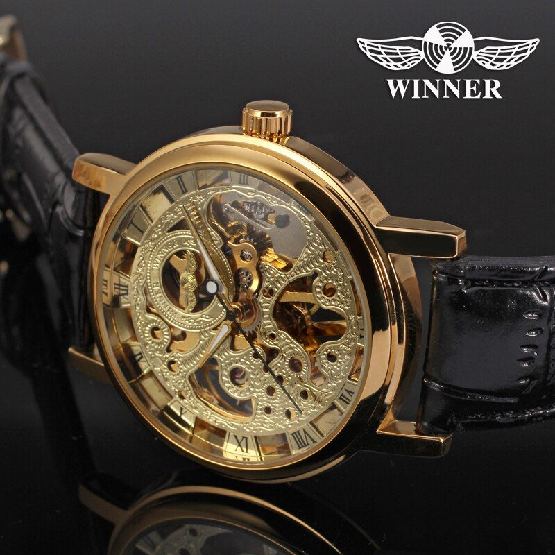 Watches Men Low Price High Quality Mechanical Luxury Brand Watch Male Dress Genuine Leather Band Golden Skeleton Watch Gift Box