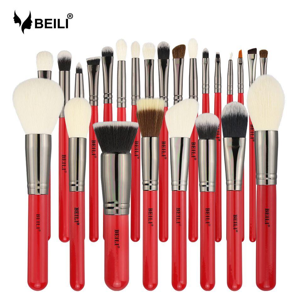BEILI Rot 25 stücke Professionelle Natürliche Haar Make-Up Pinsel Set Powder Foundation Rouge Lidschatten Augenbraue Lip Eyeliner Kontur