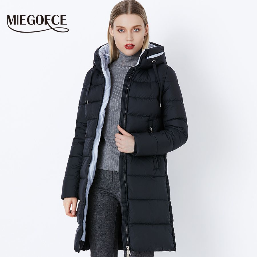 Miegofce Thickening Cotton Padded Female Jackets Windproof Women Parkas Neck With Hood Winter Coat Cotton Hot Winter Model 2018