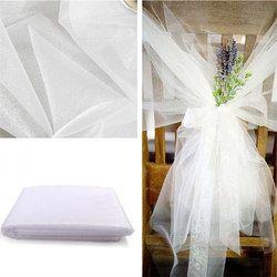 Pas cher! 45 cm * 5 mètre Sheer Cristal Organza Tulle Rouleau Tissu Pour Soirée De Mariage Décoration Nouvel an décoration