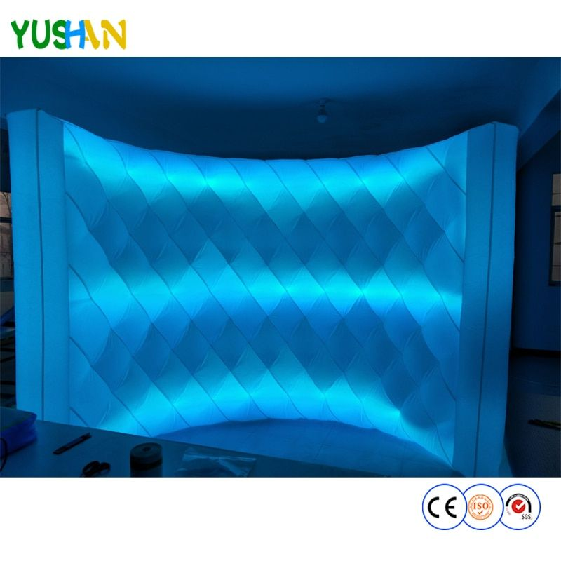 Custom Diamond Pattern Wall Brightly portable inflatable Wall 3 strips LED Wall Party photo booth Wall backdrops for Event sales