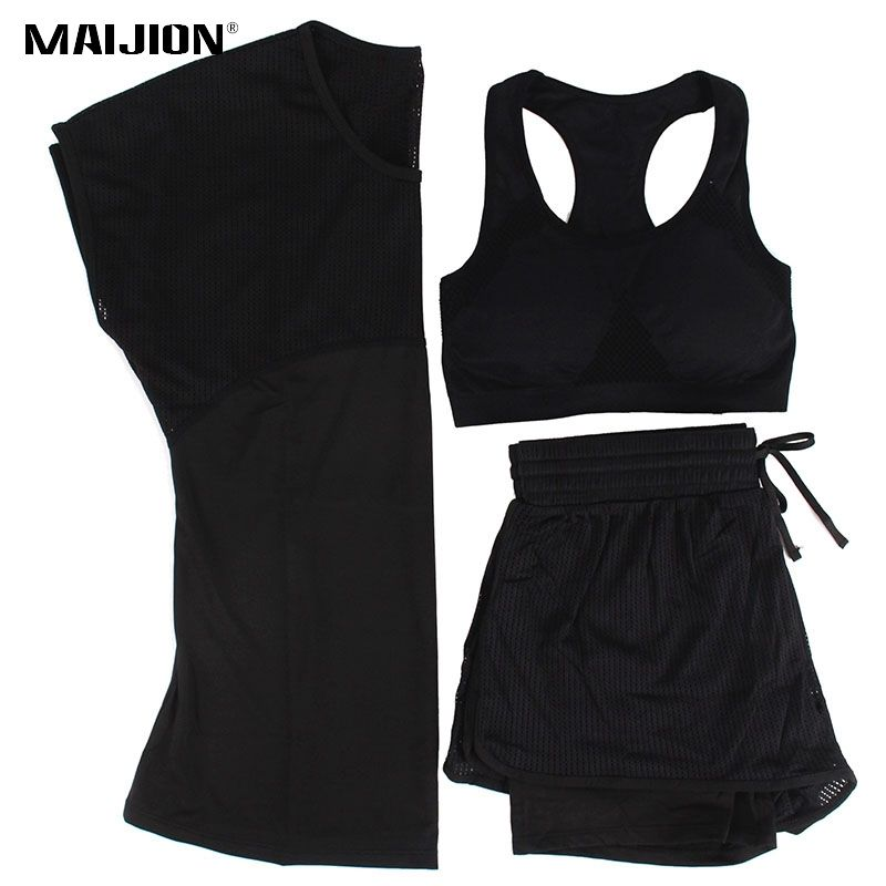 MAIJION 3 Color Women Sport Running Set Yoga T Shirt Tops&Shorts&Bra Set Quick Dry Gym Fitness Yoga Set Workout Sportswear Suit