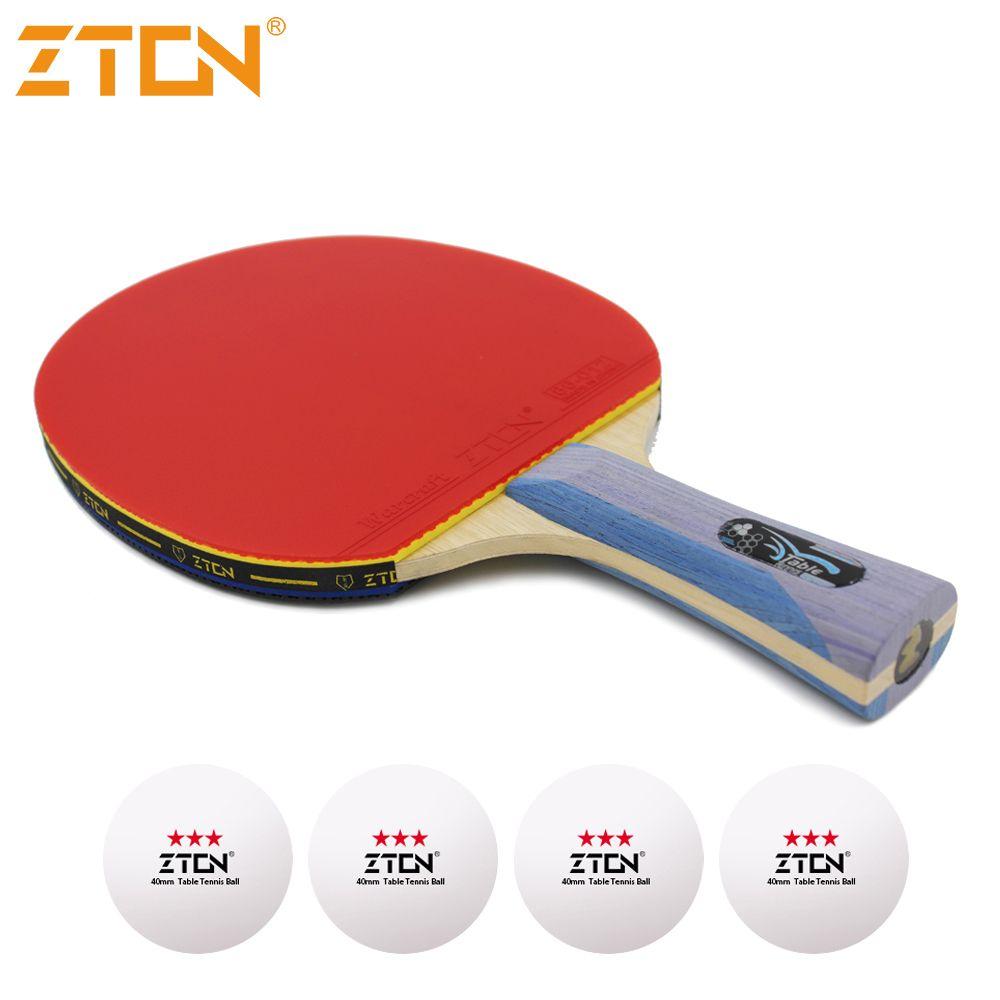 Zton 7 звезд настольный теннисные ракетки Ddouble прыщи-в резиновые пинг-понг ракетка Tenis De Mesa настольным теннисом