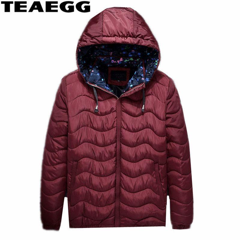 TEAEGG Plus Size 6XL 7XL Warm Men's Winter Jacket Cotton Padded Winter Man Coat Parka Homme Wine Red Jackets Men Clothing AL382
