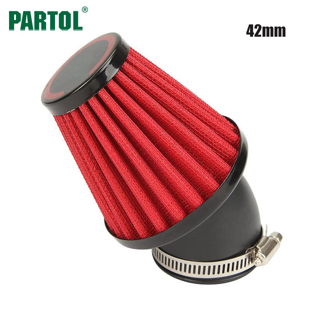 Partol Motorcycle Air Filter 42mm 45 Degree Motorbike Air Intake Filter Clearner For Suzuki GS1000 1000L GS750 Kawasaki KZ1000A