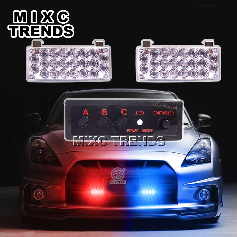 Mixc тенденции 2x22 светодиодной вспышкой света красные, синие полиции маяк аварийного Предупреждение Strobe Light для автомобиля