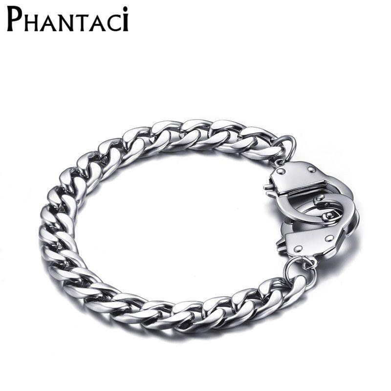 No Fade Cool Men Handcuffs Bracelet Stainless Steel Link Chain Bracelets Jewelry Mens Charm Wrap Bracelet