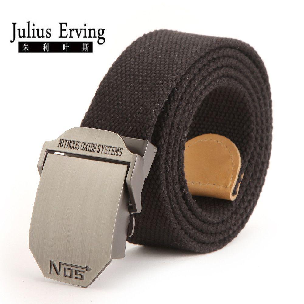 Julius Erving 2017 Large taille ceinture No 5 boucle lisse toile ceinture hommes Designer 120 cm grande taille militaire noir ceinture pour homme