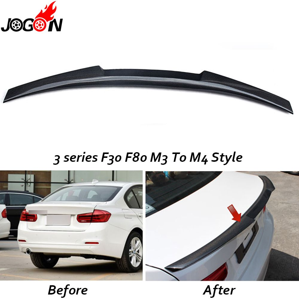 Carbon Fiber For BMW 3 Series F30 F80 M3 320i 330i 335i Sedan Car Styling Rear Tail Roof Trunk Spolier Wing Cover Trim -M4 Style