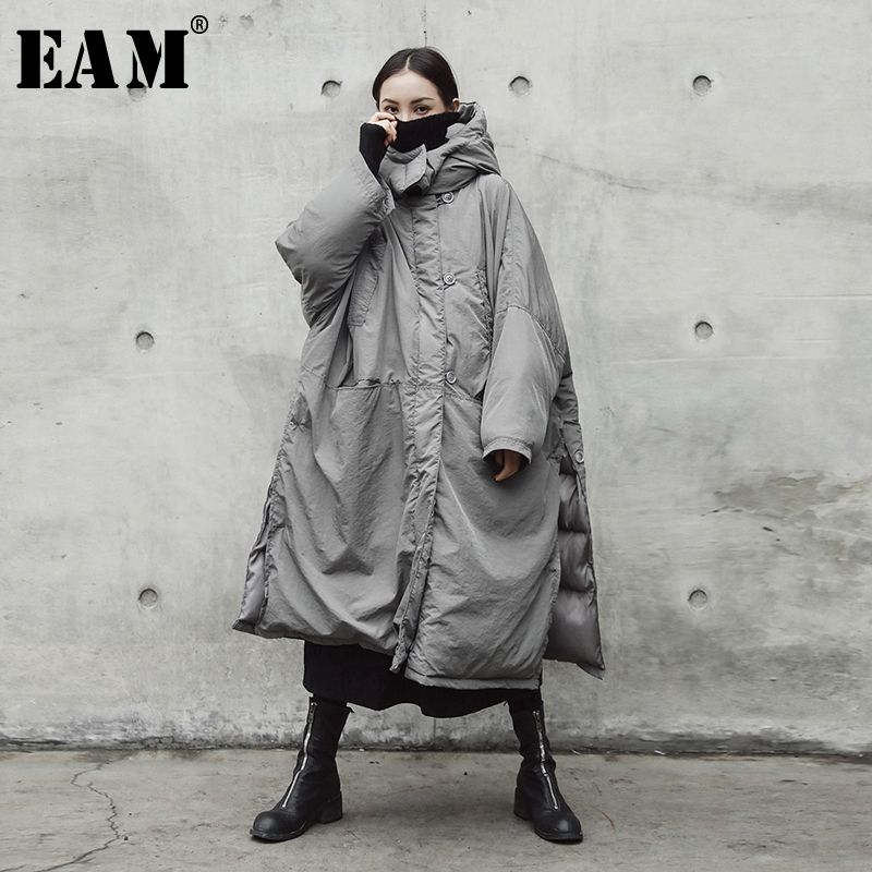 [EAM] 2019 New Spring Hooded Solid Color Light Gray Thickening Big Size Vent Warm Coat Women Jacket Fashion Tide JE02002