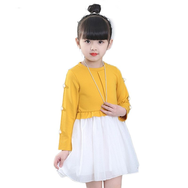 LILIGIRL Girls Princess Dress Spring Costume Children's Clothing Kids Cotton Dresses Baby Girl Party Pearl Dress + Necklace