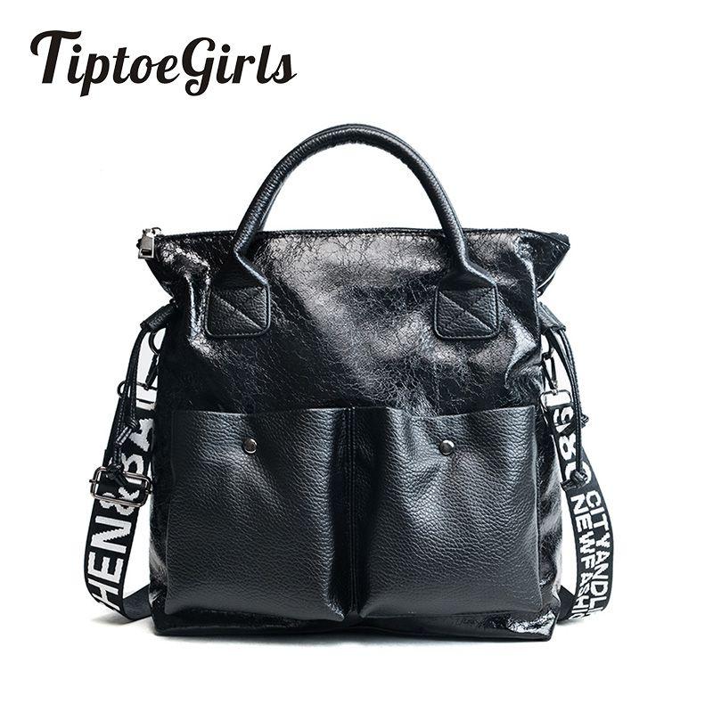 Gebraten Riss Muster Leder Damen Handtasche Neue Große Frauen Taschen Casual Totes Frauen Einkaufstaschen Mädchen Weibliche Schulter Taschen