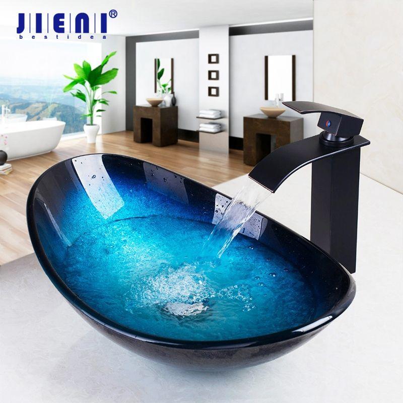 JIENI Tempered Glass Hand Painted Waterfall Spout Basin Black Tap Bathroom Sink Washbasin Bath Brass Set Faucet Mixer Taps