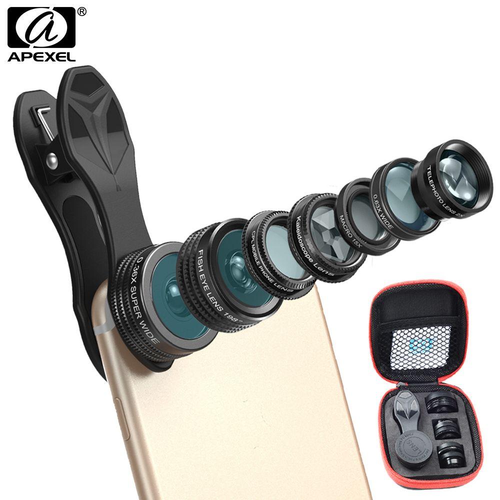 APEXEL 7 en 1 Kit d'objectif de caméra de téléphone objectif grand Angle/macro oeil de poisson kaléidoscope CPL et 2X téléobjectif zoom pour iPhone5/6 s/7
