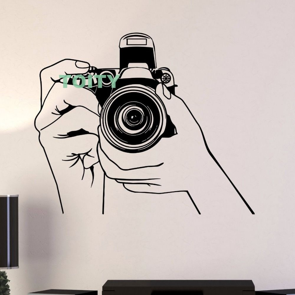 Camera Vinyl Wall Stickers Photo Photography Photograph Journalist Decal Home Interior Bedroom Decor Mural H73.6cm x W57cm