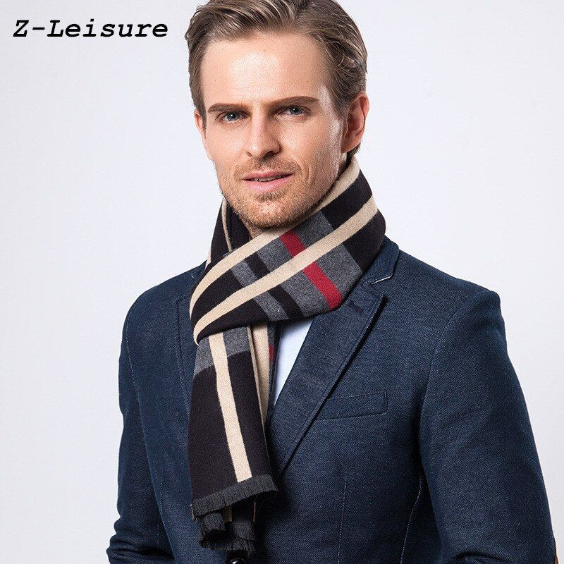 Fashion Design Casual Scarves Winter Men's Cashmere Scarf Luxury Brand High Quality Warm  Scarves Men MSF001