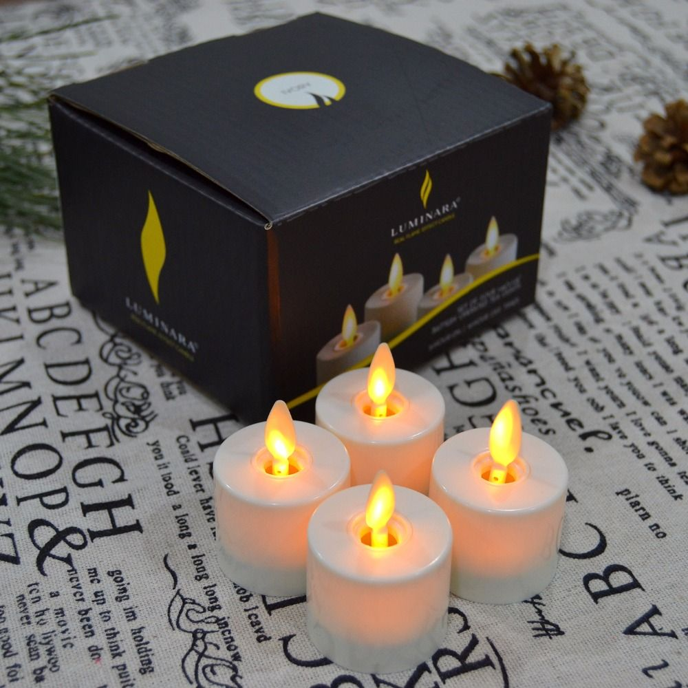 4Pcs Luminara Moving Wick Flameless Tea Light Candles Battery Operated Smokeless LED Tealight Candle for Wedding with Remote