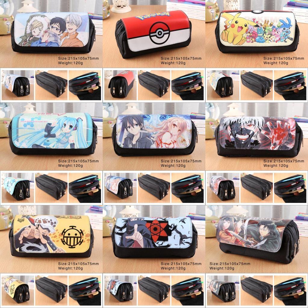 30 style cartoon toile zipper stylo sac sac cosmétique Hatsune Miku noir Butler Totoro queue de fée sous-conte porte-crayon sac de maquillage