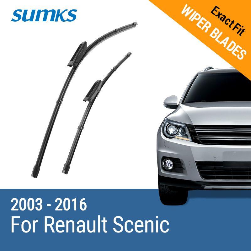 SUMKS Wiper Blades for Renault Scenic II III 2003 2004 2005 2006 2007 2008 2009 2010 2011 2012 2013 2014 2015 2016