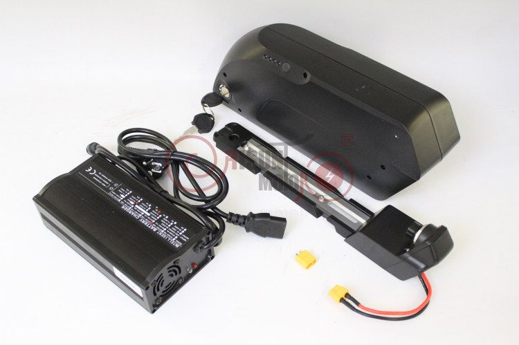 TIGER SHARK Electric Bike 36V 17.4AH Down Tube Lithium Battery 3.7V 18650 Cell With BMS+2A or 5A Charger+USB for Mobile Charging