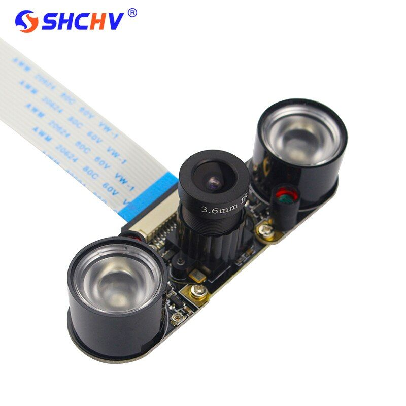 Raspberry Pi 3 Model B Camera Focal Adjustable Night Vision Camera + 2pcs IR Sensor Light + 15cm FFC Support Raspberry Pi 2