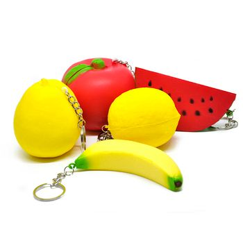 PU Material Mini Soft Squishy Strawberry/Pear/Lemon/Banana/Pineapple Fruit Squeeze Toys Key Chain For Cell Phone Strap Kid Gifts