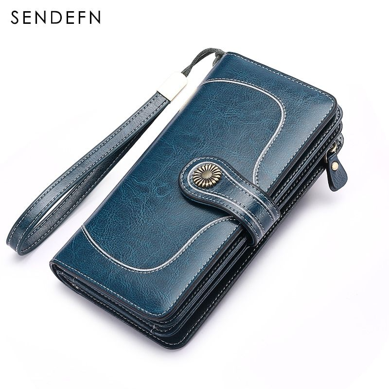 Hot Sale Brand Wallet Split Leather Wallet Female Long Wallet Women Zipper Purse Strap Clutch Coin Purse Womens Purses Leather