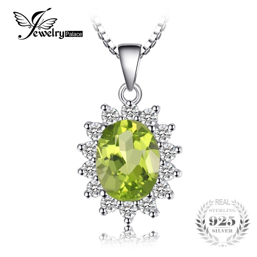 JewelryPalace Princess Diana William Kate 2.2ct Natural Peridot Solid 925 Sterling Silver Halo Penddant Necklace 45cm Box Chain