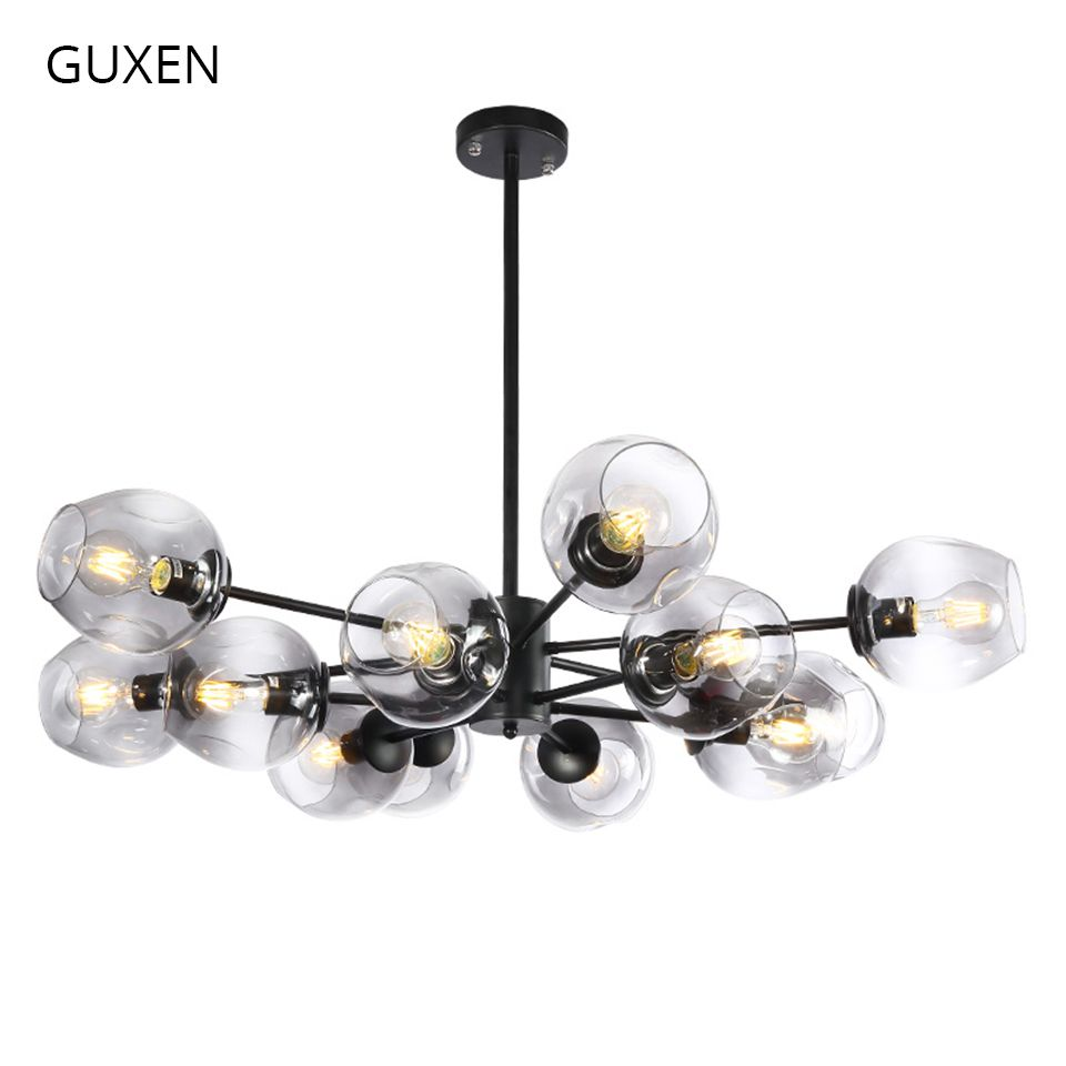 GUXEN led pendant light 6/8/12/16 head Classical lamp light for living room black/gold body 5 type glass case for choose