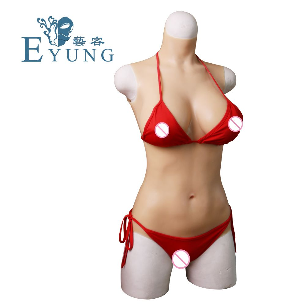 EYUNG C cup liquid silicone filling bodysuit for Crossdresser Vagina penetration Realistic breast form fake boobs swimsuit pussy