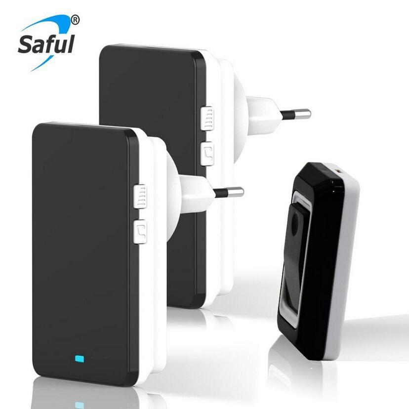 Saful Waterproof Wireless <font><b>Doorbell</b></font> Led Light <font><b>doorbells</b></font> EU US AU UK plug with push and touch button and Receiver door bell