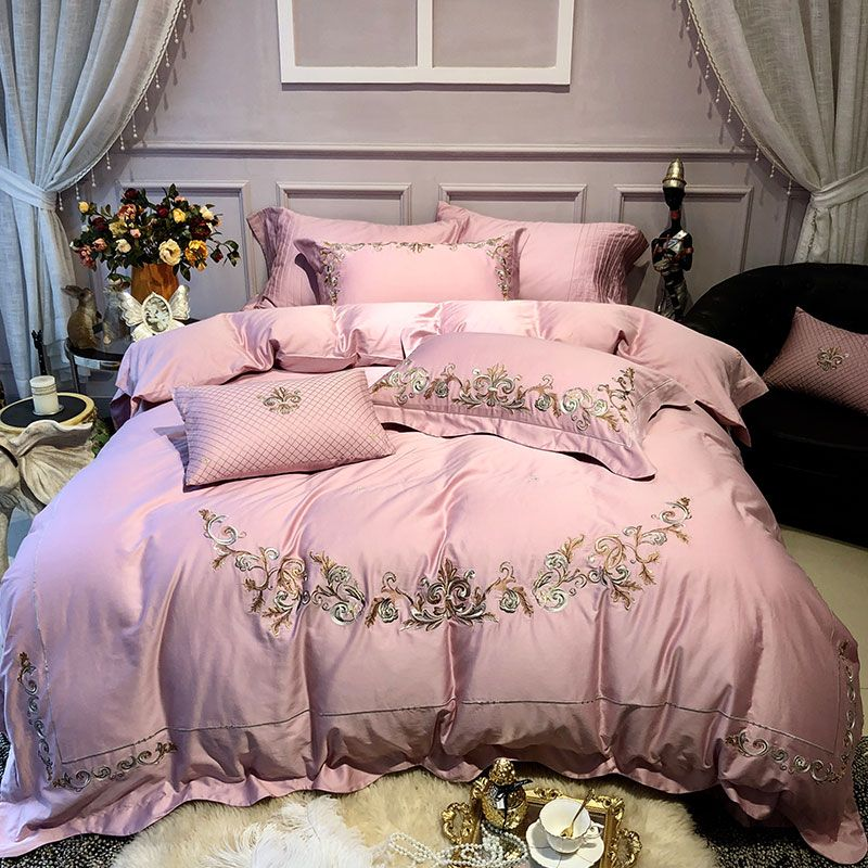 Luxury Solid pink 100S Egyptian cotton Embroidery Bedding sets Queen King Pastoral Duvet cover Bed sheet set Pillowcases 4pcs