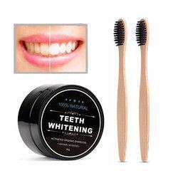 NEWDAY 1 caja dientes blanqueamiento polvo + 2 piezas de carbón de bambú cepillo de dientes higiene bucal limpieza carbón polvo de dientes blanqueamiento