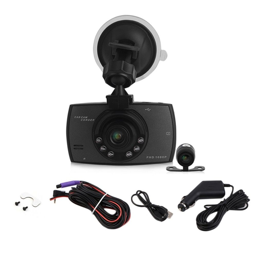 2.7 Inch LCD HD 1080P Double Lens Car Dash Camera G30 Video DVR Cam Recorder With Night Vision G-Sensor Dash Cam