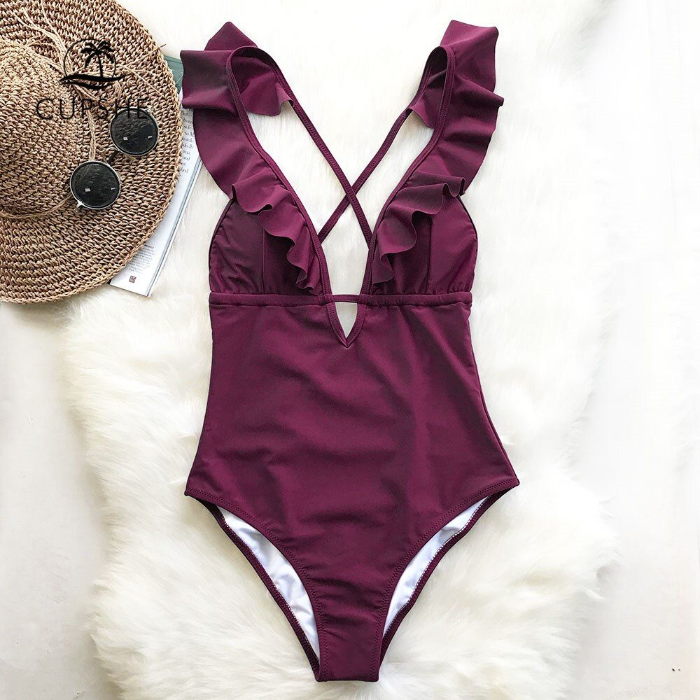 CUPSHE Burgundy Heart Attack Falbala One-piece Swimsuit Women Ruffle V-neck Monokini 2019 New Girls Beach Bathing Suit Swimwear