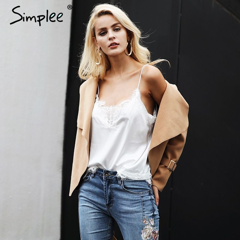 Simplee Sexy hollow out camisole tank top tees Women summer lace top cami Crop tops women Casual white tank female 2017