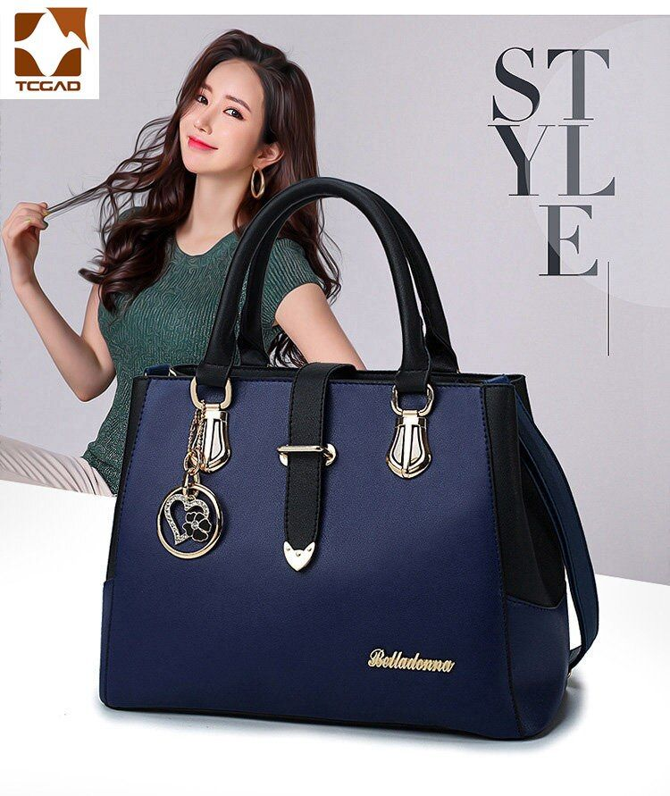 TCGAD luxury handbag Ladies Blue leather metal loving heart star shoulder bag handbag Bolsas De Luxo Mulheres Sacos Designer