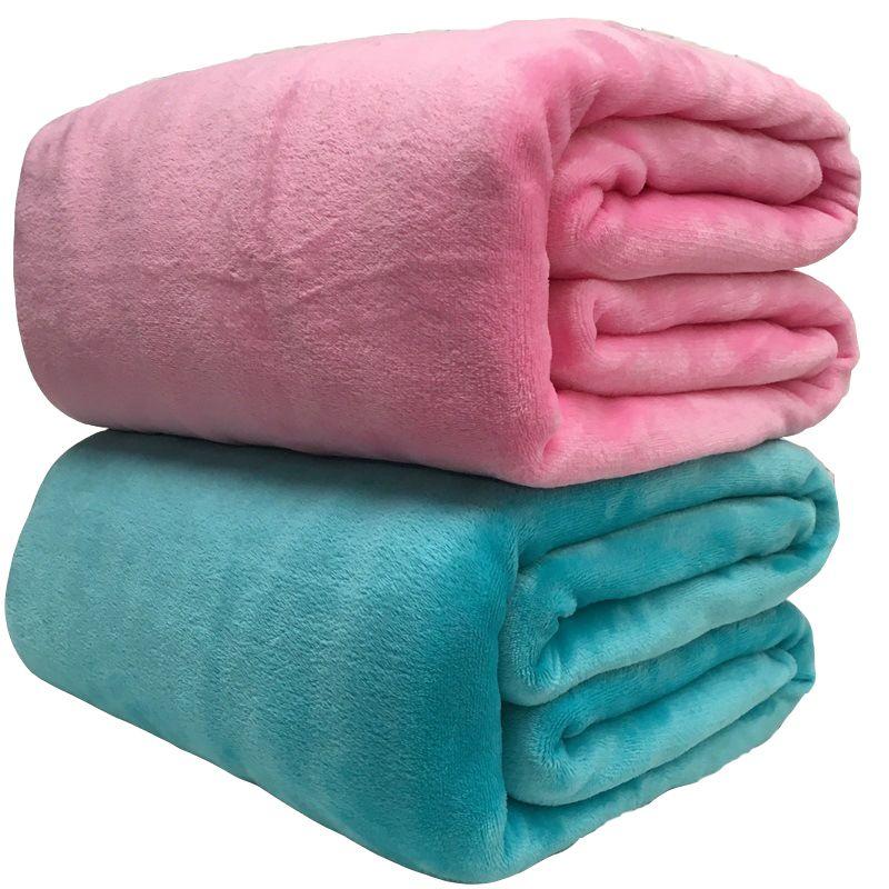 Couverture douce chaude d'ouatine de corail couvre-lit d'hiver canapé Plaid jeter 220Gsm 6 taille légère mince mécanique lavage flanelle couvertures