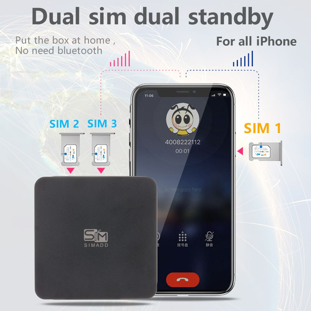 3 SIM 3 Standby Box 3 SIM Activate Online at the same time iShere SIM ADD for i Phone 6/7/8/X SIM at home ,no need carry